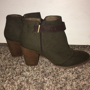 Olive Green Restricted Booties